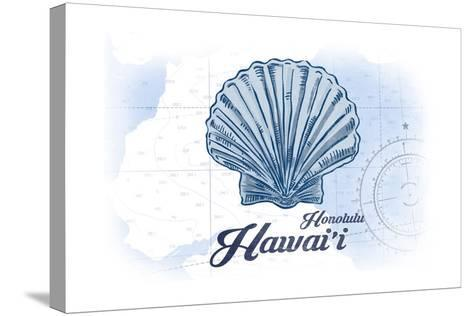 Honolulu, Hawaii - Scallop Shell - Blue - Coastal Icon-Lantern Press-Stretched Canvas Print