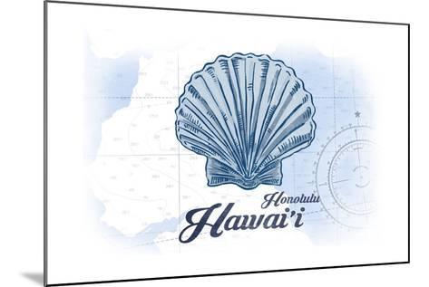 Honolulu, Hawaii - Scallop Shell - Blue - Coastal Icon-Lantern Press-Mounted Art Print