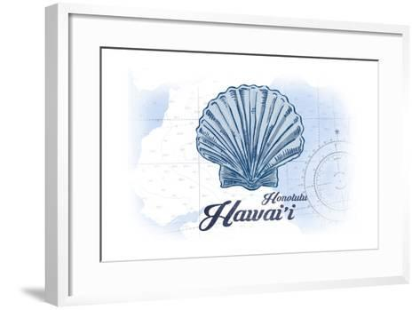 Honolulu, Hawaii - Scallop Shell - Blue - Coastal Icon-Lantern Press-Framed Art Print