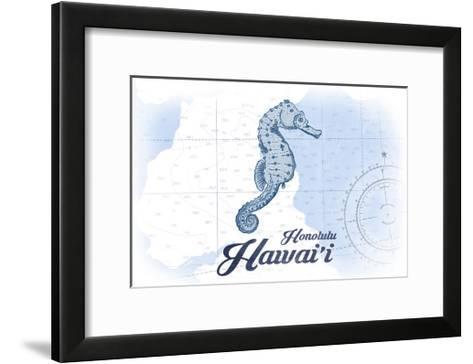 Honolulu, Hawaii - Seahorse - Blue - Coastal Icon-Lantern Press-Framed Art Print