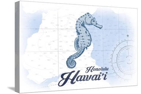 Honolulu, Hawaii - Seahorse - Blue - Coastal Icon-Lantern Press-Stretched Canvas Print