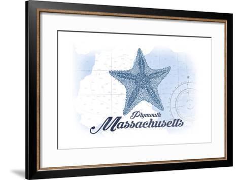 Plymouth, Massachusetts - Starfish - Blue - Coastal Icon-Lantern Press-Framed Art Print