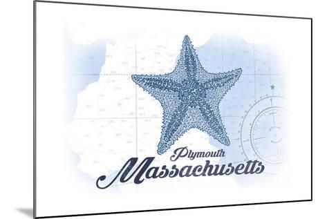 Plymouth, Massachusetts - Starfish - Blue - Coastal Icon-Lantern Press-Mounted Art Print