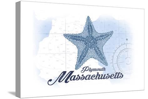 Plymouth, Massachusetts - Starfish - Blue - Coastal Icon-Lantern Press-Stretched Canvas Print