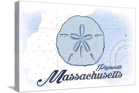 Plymouth, Massachusetts - Sand Dollar - Blue - Coastal Icon-Lantern Press-Stretched Canvas Print
