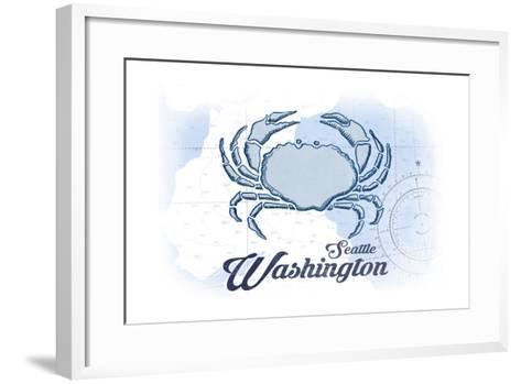 Seattle, Washington - Crab - Blue - Coastal Icon-Lantern Press-Framed Art Print