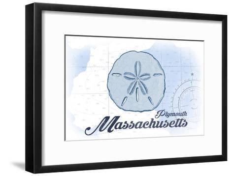 Plymouth, Massachusetts - Sand Dollar - Blue - Coastal Icon-Lantern Press-Framed Art Print