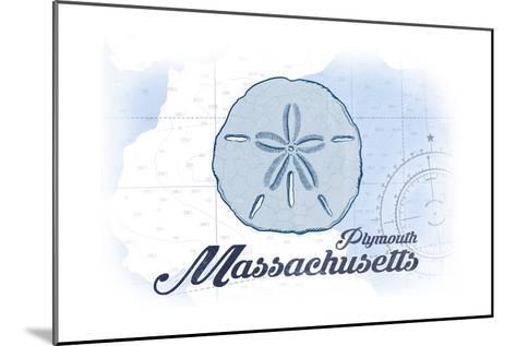 Plymouth, Massachusetts - Sand Dollar - Blue - Coastal Icon-Lantern Press-Mounted Art Print