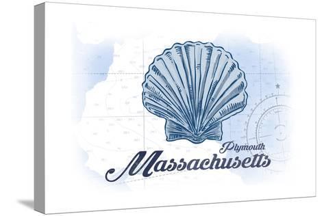 Plymouth, Massachusetts - Scallop Shell - Blue - Coastal Icon-Lantern Press-Stretched Canvas Print