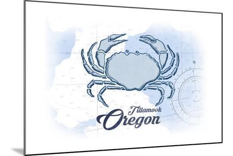 Tillamook, Oregon - Crab - Blue - Coastal Icon-Lantern Press-Mounted Art Print