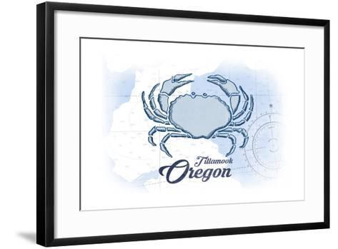 Tillamook, Oregon - Crab - Blue - Coastal Icon-Lantern Press-Framed Art Print
