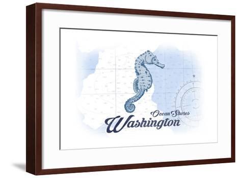 Ocean Shores, Washington - Seahorse - Blue - Coastal Icon-Lantern Press-Framed Art Print