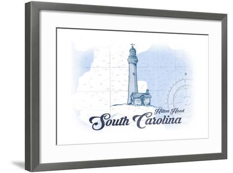 Hilton Head, South Carolina - Lighthouse - Blue - Coastal Icon-Lantern Press-Framed Art Print