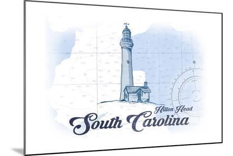 Hilton Head, South Carolina - Lighthouse - Blue - Coastal Icon-Lantern Press-Mounted Art Print