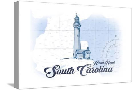 Hilton Head, South Carolina - Lighthouse - Blue - Coastal Icon-Lantern Press-Stretched Canvas Print