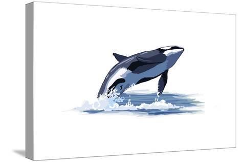 Orca Whale - Icon-Lantern Press-Stretched Canvas Print