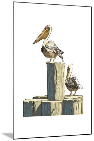 Pelican and Pilings - Icon-Lantern Press-Mounted Art Print