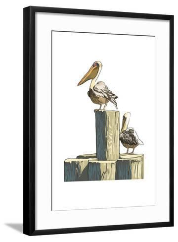 Pelican and Pilings - Icon-Lantern Press-Framed Art Print