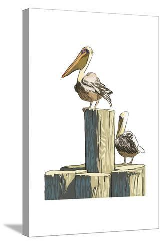 Pelican and Pilings - Icon-Lantern Press-Stretched Canvas Print