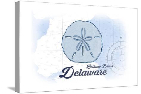 Bethany Beach, Delaware - Sand Dollar - Blue - Coastal Icon-Lantern Press-Stretched Canvas Print