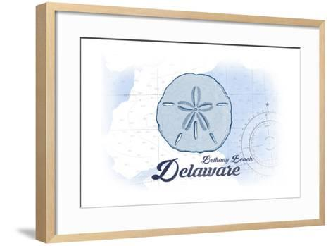 Bethany Beach, Delaware - Sand Dollar - Blue - Coastal Icon-Lantern Press-Framed Art Print