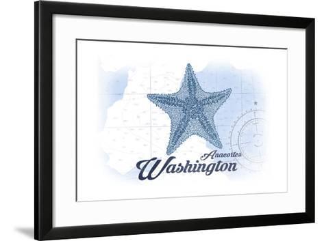 Anacortes, Washington - Starfish - Blue - Coastal Icon-Lantern Press-Framed Art Print