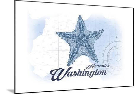 Anacortes, Washington - Starfish - Blue - Coastal Icon-Lantern Press-Mounted Art Print