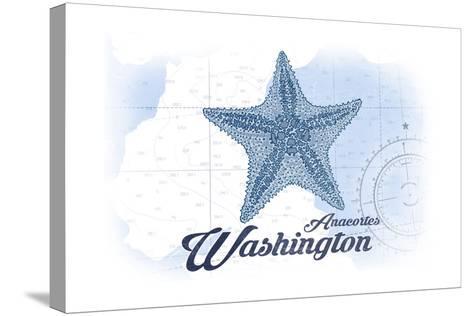 Anacortes, Washington - Starfish - Blue - Coastal Icon-Lantern Press-Stretched Canvas Print