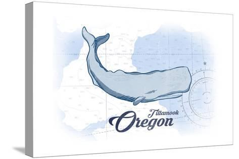 Tillamook, Oregon - Whale - Blue - Coastal Icon-Lantern Press-Stretched Canvas Print