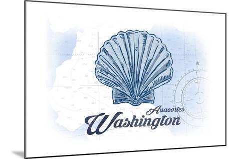 Anacortes, Washington - Scallop Shell - Blue - Coastal Icon-Lantern Press-Mounted Art Print