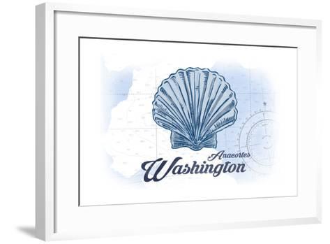 Anacortes, Washington - Scallop Shell - Blue - Coastal Icon-Lantern Press-Framed Art Print