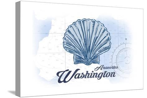 Anacortes, Washington - Scallop Shell - Blue - Coastal Icon-Lantern Press-Stretched Canvas Print