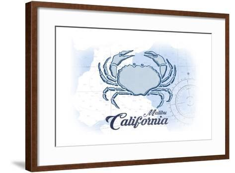Malibu, California - Crab - Blue - Coastal Icon-Lantern Press-Framed Art Print
