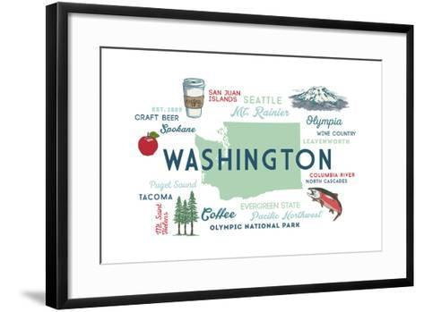 Washington - Typography and Icons-Lantern Press-Framed Art Print