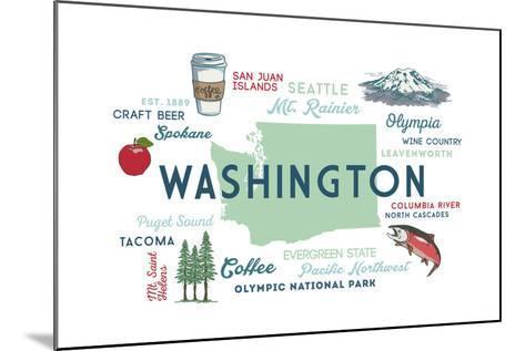Washington - Typography and Icons-Lantern Press-Mounted Art Print