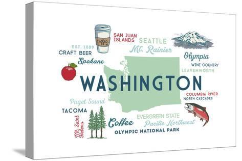 Washington - Typography and Icons-Lantern Press-Stretched Canvas Print