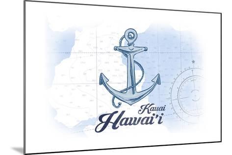 Kauai, Hawaii - Anchor - Blue - Coastal Icon-Lantern Press-Mounted Art Print