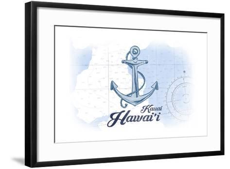 Kauai, Hawaii - Anchor - Blue - Coastal Icon-Lantern Press-Framed Art Print