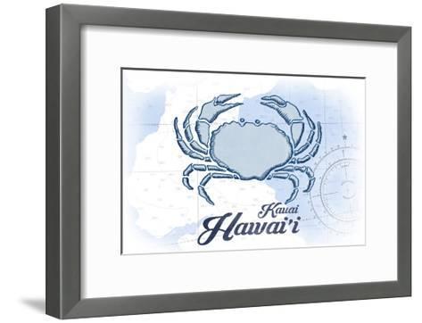 Kauai, Hawaii - Crab - Blue - Coastal Icon-Lantern Press-Framed Art Print