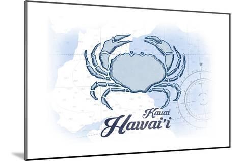 Kauai, Hawaii - Crab - Blue - Coastal Icon-Lantern Press-Mounted Art Print