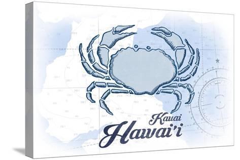 Kauai, Hawaii - Crab - Blue - Coastal Icon-Lantern Press-Stretched Canvas Print