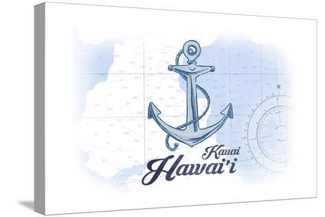 Kauai, Hawaii - Anchor - Blue - Coastal Icon-Lantern Press-Stretched Canvas Print