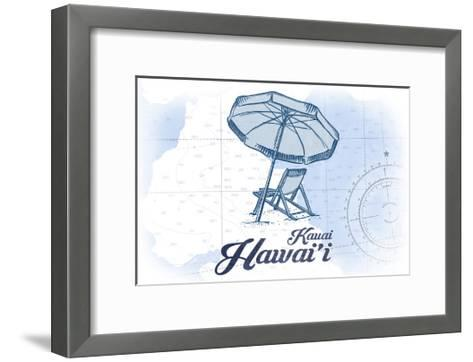 Kauai, Hawaii - Beach Chair and Umbrella - Blue - Coastal Icon-Lantern Press-Framed Art Print