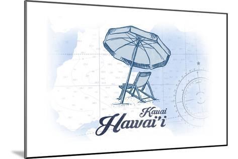 Kauai, Hawaii - Beach Chair and Umbrella - Blue - Coastal Icon-Lantern Press-Mounted Art Print