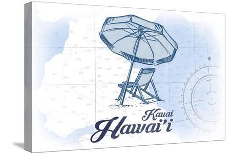 Kauai, Hawaii - Beach Chair and Umbrella - Blue - Coastal Icon-Lantern Press-Stretched Canvas Print