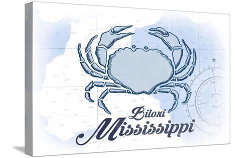 Biloxi, Mississippi - Crab - Blue - Coastal Icon-Lantern Press-Stretched Canvas Print