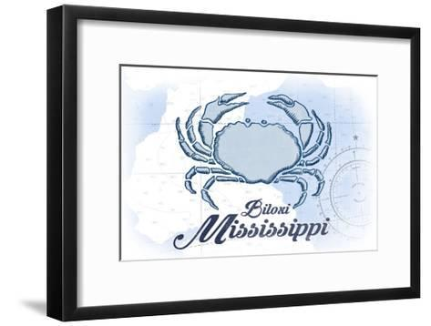 Biloxi, Mississippi - Crab - Blue - Coastal Icon-Lantern Press-Framed Art Print