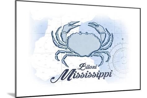 Biloxi, Mississippi - Crab - Blue - Coastal Icon-Lantern Press-Mounted Art Print