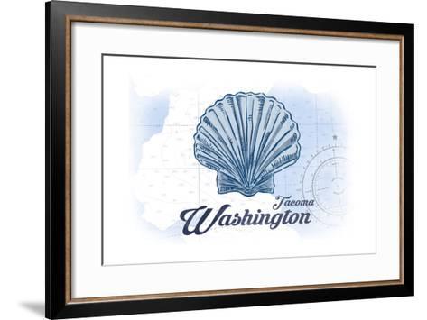 Tacoma, Washington - Scallop Shell - Blue - Coastal Icon-Lantern Press-Framed Art Print