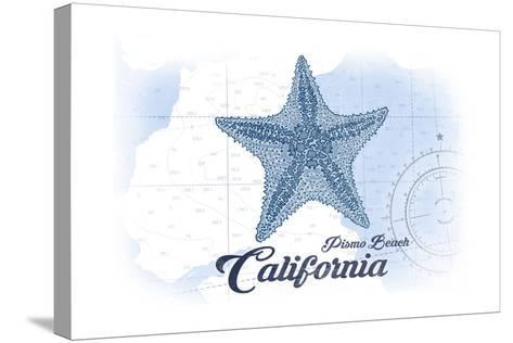 Pismo Beach, California - Starfish - Blue - Coastal Icon-Lantern Press-Stretched Canvas Print